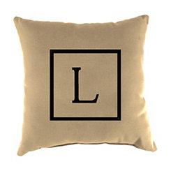 Natural Monogram L Outdoor Pillow
