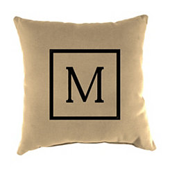 Natural Monogram M Outdoor Pillow