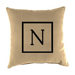 Natural Monogram N Outdoor Pillow