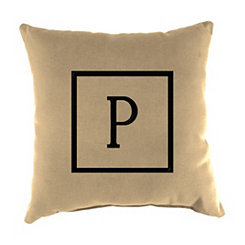 Natural Monogram P Outdoor Pillow