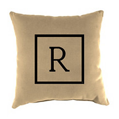 Natural Monogram R Outdoor Pillow