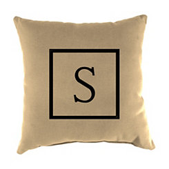 Natural Monogram S Outdoor Pillow