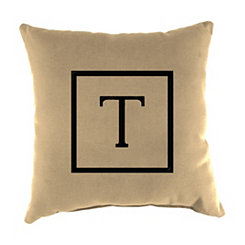 Natural Monogram T Outdoor Pillow