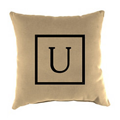 Natural Monogram U Outdoor Pillow