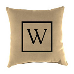 Natural Monogram W Outdoor Pillow