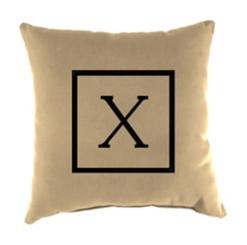 Natural Monogram Outdoor Pillows