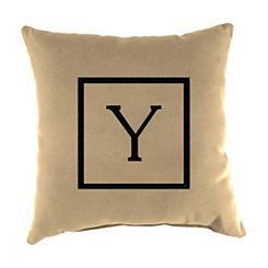 Natural Monogram Y Outdoor Pillow