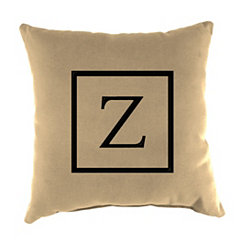 Natural Monogram Z Outdoor Pillow