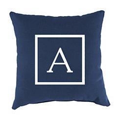 Navy Monogram A Outdoor Pillow