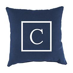 Navy Monogram C Outdoor Pillow
