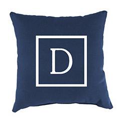 Navy Monogram D Outdoor Pillow