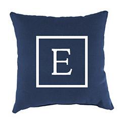 Navy Monogram E Outdoor Pillow
