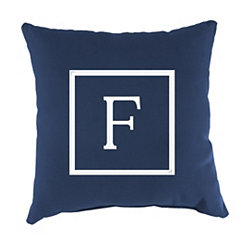 Navy Monogram F Outdoor Pillow