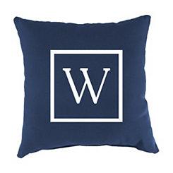 Navy Monogram W Outdoor Pillow