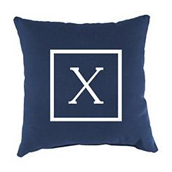 Navy Monogram X Outdoor Pillow