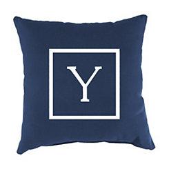 Navy Monogram Y Outdoor Pillow