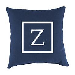 Navy Monogram Z Outdoor Pillow