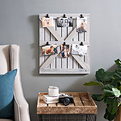 Distressed Gray Barn Door Collage Frame with Clips