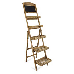 Five Tier Wooden Folding Shelf with Chalkboard