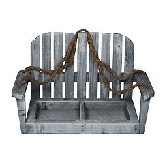 Gray Wash Wood Hanging Chair Planter with Two Pots