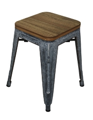 Wood Top with Metal Base Stool