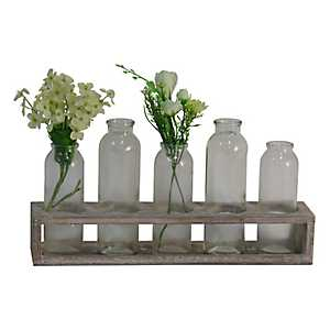 Glass Bottle with Wooden Stand, Set of 5