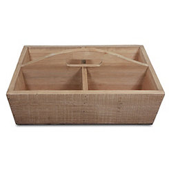 Four Compartment Natural Wooden Caddy
