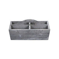 Gray Wash Wooden Caddy