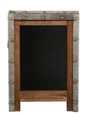 Wood with Silver Tin Frame Chalkboard Easel