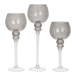 Smoked Crackle Glass Charismas, Set of 3