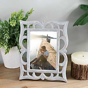 Gray Mango Wood Carved Picture Frame, 5x7