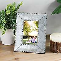Galvanized Metal Studs Picture Frame, 4x6