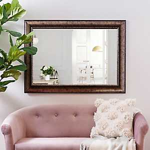 Bronze Wave Framed Wall Mirror, 31x43 in.