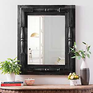 Black Distressed Spindle Bedford Wall Mirror
