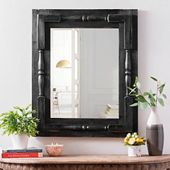 Black Spindle Bedford Wall Mirror, 27.5x33.5 in.