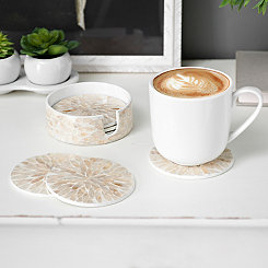 Ivory Capiz Coasters, Set of 6