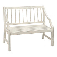 Cream Spindle Wood Outdoor Bench