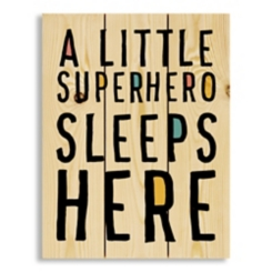 A Little Superhero Lives Here Wood Pallet Plaque