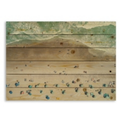 Tourist Beach Scene Wood Pallet Plaque
