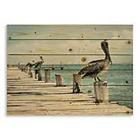 Perched Pelican Wood Pallet Plaque
