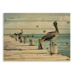 Perched Pelican Wood Pallet Plaque