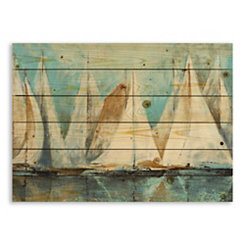 Painterly Sailboats Wood Pallet Plaque