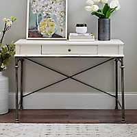 Cream Wood 1-Drawer Console Table