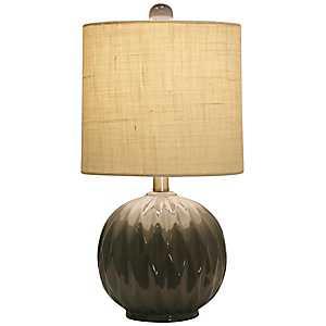 Round Gray Ceramic Table Lamp