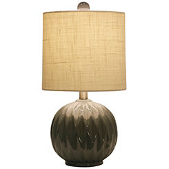 Round Gray Ceramic Table Lamp