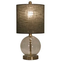 Seeded Glass and Steel Table Lamp