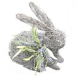 White Dried Grass Rabbit Statue, 13.5 in.