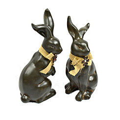 Terracotta Rabbits with Burlap Bows, Set of 2