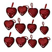 Red Sequined Hearts Ornaments, Set of 12