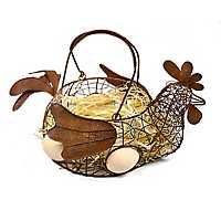 Rusted Rooster Basket with Straw Fill